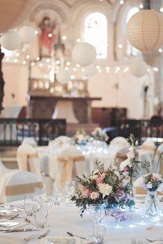 Mariage chapelle-centre de table nature chic blanc rose-Détours Nature-wedding