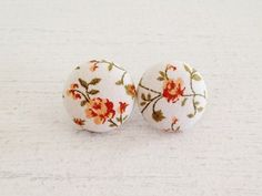 """""""Harper"""" Fabric Button Post Earrings by TheHosfordHousewife on Etsy.  Floral earrings - shabby chic earrings - shabby chic jewelry"""