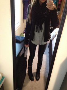Leather jacket, denim shirt, leather pants, black scarf and combat boots