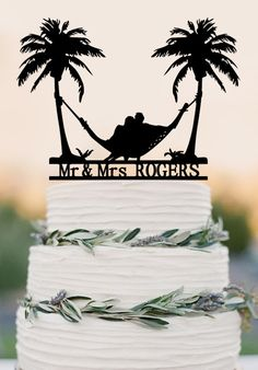 Beach Theme Honeymoon Hammock Wedding Cake Topper by balmaindesign
