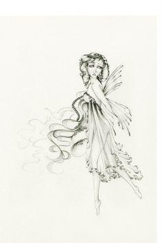 Fairy Drawing Original Pencil Drawing Black and by ABitofWhimsyArt, $200.00