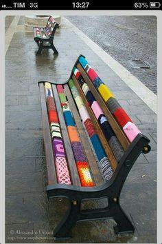 Refurbished bench with color blocked paint technique