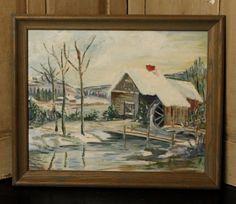SALE Vintage Hand Painted Framed Winter Scene 1960's Vintage Painting, Vintage Paper, Winter Scenes, Hand Painted, Vintage Artwork, Painting, Artwork, Scene, Vintage