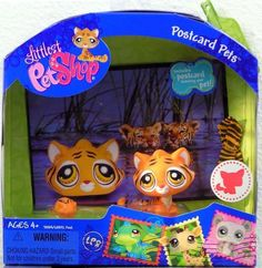 LPS Littlest Pet Shop Postcard Pets Jungle Tiger Cat Hasbro Retired Collectible Bobble Head Animal [Toy]