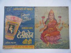 Old Tin Sign Board Tin Advertisement Board India Telephone Bidi Laxmi Ji #773