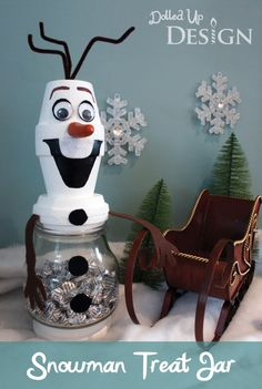 Isn't he adorable!!! Snowman Treat Jar (Olaf)