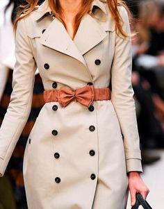 Burberry feminine trench coat with orange bow