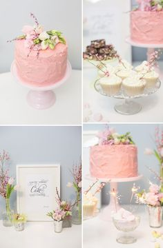 Pink cake and cupcakes