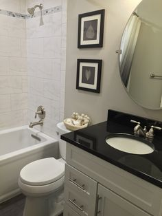 The Master Bathroom Has Black Granite Countertops With Double Vanity Sinks And A Special Bathtub Given To Homeowner Deann