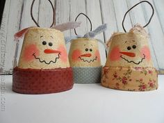 Vintage Clay Pot Snowman Ornaments - These are so cute....