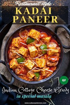 Kadai Paneer is famous restaurant style dish of Indian cottage cheese gravy cooked with bell peppers, tomato, onion and special homemade kadhai masala. It is spicy, super delicious and pairs best with naan or parathas. Best Paneer Recipes, Paratha Recipes, Pork Recipes, Indian Food Recipes, Asian Recipes, Cooking Recipes, Paneer Curry Recipes, Indian Paneer Recipes, Rice Recipes