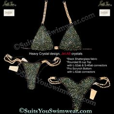 Heavy Crystal Design bikini, loaded with Swarovski Crystals, black shatterglass with Jet AB crystals.