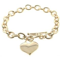 Designer Inspired Gold Heart Charm Toggle Bracelet Links Of Love Jewelry