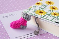 Valentine's day sock BOOKMARK  fuchsia and grey wool  di SoftCute