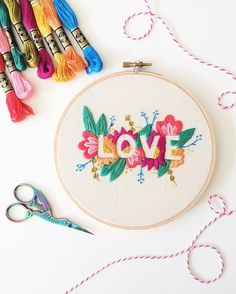 LOVE - negative space embroidery - brynnandcoshop More
