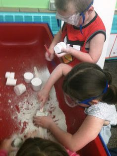 : Playing Palaeontologists: 9oz Dixie cups, 1part plaster of Paris, 1 part water, 2 parts sand