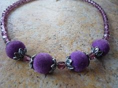 Amethyst Crystal and Silver Necklace by BellaDonnaBead on Etsy,