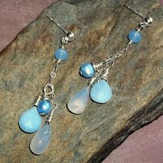 Blue Gemstone Earrings Owyhee Opal Chalcedony Pearl Sterling Posts
