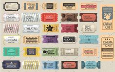 30 Retro tickets Vector set Graphics 30 Retro tickets set vector for your ideas! I hope it will be useful for Scalable V by DENMARTYSTUDIO City Illustration, Pencil Illustration, Graphic Design Illustration, Design Illustrations, Business Brochure, Business Card Logo, Business Design, Admit One Ticket, Ticket Design