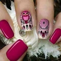 Tener un buen sueño con estas uñas Dreamcatcher Owl Nail Designs, Cute Nails, Pretty Nails, Indian Nails, Dream Catcher Nails, Owl Nails, Owl Nail Art, Gel Nagel Design, Girls Nails