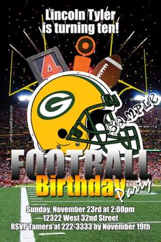 Green Bay Packers Football Party Birthday Invitations CHOOSE YOUR TEAM - Get these invitations RIGHT NOW. Design yourself online, download and print IMMEDIATELY! Or choose my printing services. No software download is required. Free to try!