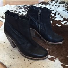 "AllSaints Spitalfields Rustic Boot, Size 39 Excellent Condition/Gently Used.                              100% Italian leather boot with mid height (3.6"") block heel, almond toe, and stone washed finish in blue/grey shade of black. Zip fastening on inner side and tab at back. All Saints Shoes Ankle Boots & Booties"