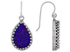 Artisan Collection Of Israel (Tm) Drusy Quartz Purple Pear Shape Sterling Silver Earrings