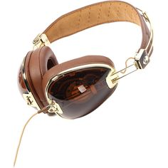 Skullcandy The Aviator Headphones with Mic in Brown & Gold ($150) ❤ liked on Polyvore featuring accessories, tech accessories, headphones, filler, props, star headphones, skullcandy headphones, skullcandy and star wars headphones