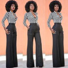 Striped Shirt x Pintucked High Waist Trousers.