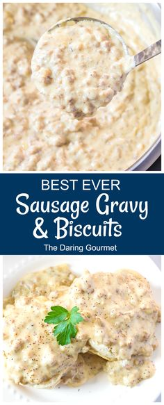 Creamy, smooth, and velvety sausage gravy poured over hot and fluffy buttermilk biscuits....that's what I call pure heaven! Brunch Recipes, Dinner Recipes, Lamb Recipes, Brunch Ideas, Yummy Recipes, Vegan Recipes, Sausage Gravy And Biscuits, Buttermilk Biscuits, Breakfast Dishes