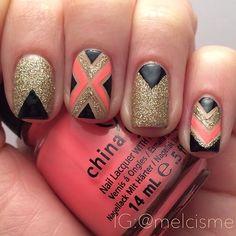 Peach, gold, black nails. Nail Art. Nail Design. Polishes. Polish. Polished.  China Glaze. Instagram by melcisme