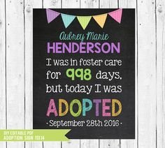 Adoption sign, Adopted, days in foster care, Adoption day, foster care sign, Adoption chalkboard, Adoption gifts, DIY edit in ADOBE READER