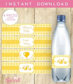 Elephant Water Bottle Labels Baby Shower Printable - Yellow and Gray Elephant - Welcome Little Peanut - Instant Download by TppCardS #tppcards
