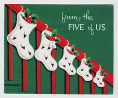 Vintage-Stockings-with-Holly-on-Stair-Rail-Christmas-Greeting-Card