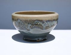 Pottery Bowl Sea Foam Crackle Glass Blues Earth Tones Hand Thrown Signed by the Artist  Ask a Question $29.00