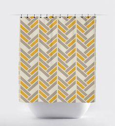 Mustard And Gray Shower Curtain Modern Fabric Tan