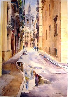 Laurentino Martí Pen And Watercolor, Watercolor Landscape, Watercolour Painting, Watercolors, Art With Meaning, Spanish Art, City Scene, Dream Art, Pencil Art Drawings