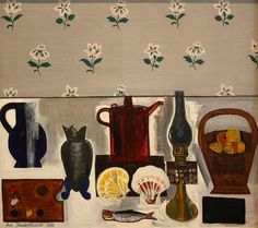 Still life with wallpaper with flowers, 1932 Jean Brusselmans