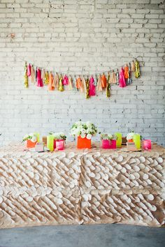 love the ruffled table cloth! WANT IT NOW :) LOL Ruffled® | Neon Wedding Inspiration