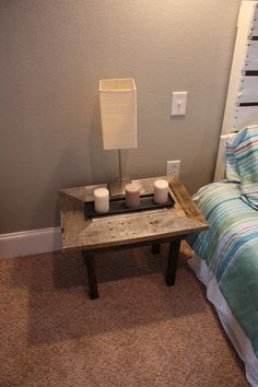 Recycled pallet Wood Nightstand Set by SwirlyTwirlyDesigns on Etsy, $100.00