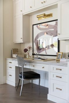 Floors – White Oak | Wall Color – Benjamin Moore Gray Mist | White Cabinets – Benjamin Moore Sea Pearl | Gray Cabinets – Custom | Countertops & Backsplash – Macaubus Quartzite