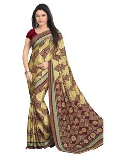 Graceful Cream Printed Crepe Saree
