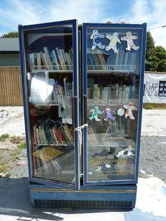 Community library in Christchurch. Little Free Libraries, Little Library, Community Library, Central City, Canterbury, Bibliophile, Kiwi, New Zealand, Locker Storage