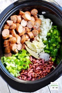 are going to LOVE this red beans and rice in the slow cooker because it is so delicious and easy!You are going to LOVE this red beans and rice in the slow cooker because it is so delicious and easy! Crockpot Dishes, Crock Pot Slow Cooker, Crock Pot Cooking, Cooking Recipes, Red Beans And Rice Recipe Crockpot, Healthy Slow Cooker, Crock Pots, Healthy Crock Pot Meals, Cooking Fish