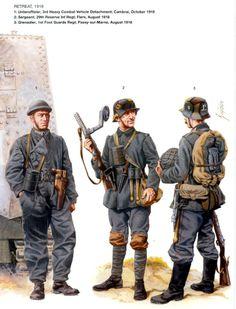 L to R; Unteroffizier 3rd Heavy combat Vehicle Detachment, Cambrai October 1918, Sergeant 29th Reserve Infantry Regt, Flers August 1918  Grenadier 1st Guards Regt, Passy Sur Marne August 1918.