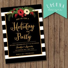 Christmas Party Invitation, Holiday Party Invitation, Christmas Party Invite, Christmas Party Printable, Black & White Stripe Christmas