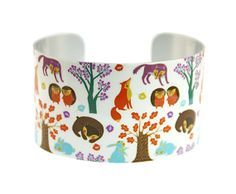 Cuff bracelet, women's bangle, wildlife lovers gift, woodland jewellery with foxes, bears, rabbits, hedgehogs - C115