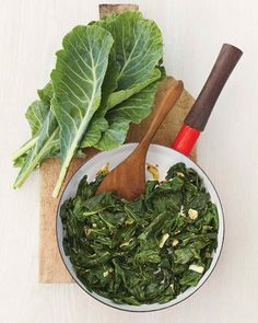 Collard greens are normally associated with a long, slow cooking time, but this method requires only 10 minutes of steaming. Sauteing the leaves with garlic first balances the vegetable's bitterness. Pull or cut out the thick stems, and wash the leaves well before using.