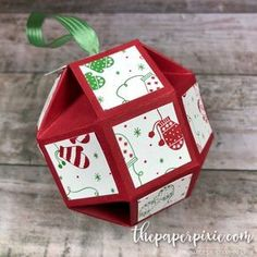 Faceted Christmas ornament which features the Stampin' Up! Be Merry Designer Series Paper. Paper Christmas Ornaments, Christmas Origami, Stampin Up Christmas, Christmas Bags, Noel Christmas, Diy Christmas Gifts, Christmas Projects, Handmade Christmas, Paper Christmas Decorations