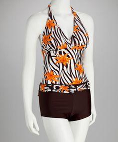 Love this Orange & Brown Flower Halter Tankini - Women on #zulily! #zulilyfinds